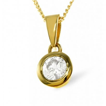 18K Gold 0.50ct H/si1 Diamond Pendant, DP02-50HS1Y